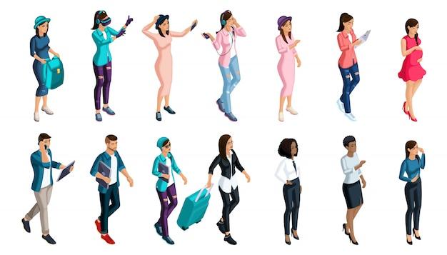 ソーシャルネットワーク、現代のサブカルチャー、ヒップスター、ゲーマーで使用するための、感情とジェスチャーを持つ人々のセットである定性的アイソメトリー Premiumベクター