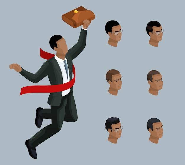 質的アイソメトリー、実業家、喜びのためにジャンプ、アフリカ系アメリカ人の男性。イラストを作成するための一連の感情とヘアスタイルを持つキャラクター
