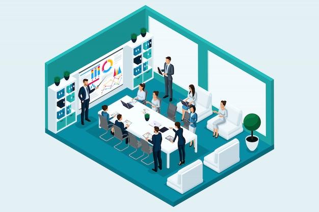 トレーニングで事務室にいる定性的アイソメトリ、キャラクター、ビジネスマン。ビジネスゲームのコンセプト