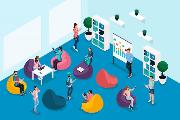 Качественная изометрия, персонажи в коворкинг-центре, работа, общение проходят обучение. рекламная концепция фриланса в креативной команде