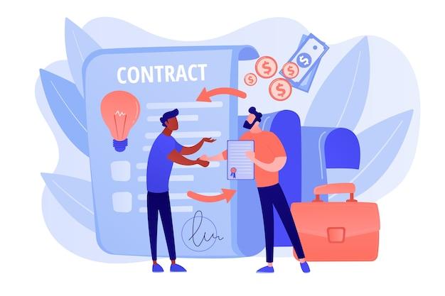 Garanzia di qualità. un accordo di affari. certificato di garanzia