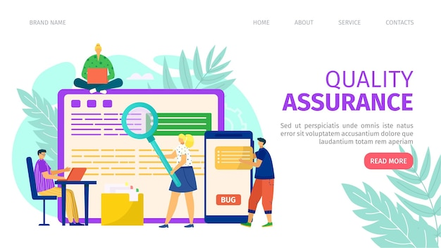 Quality assurance and programming development landing page