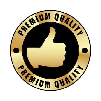 Значок качества с большим пальцем вверх, металлический значок из черного золота