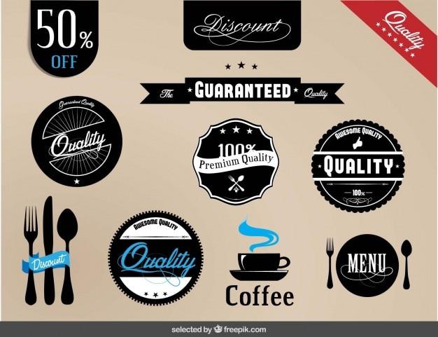 Qualità scudetti raccolta di ristorante