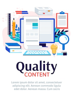 Quality content for social media and site banner illustration isolated.
