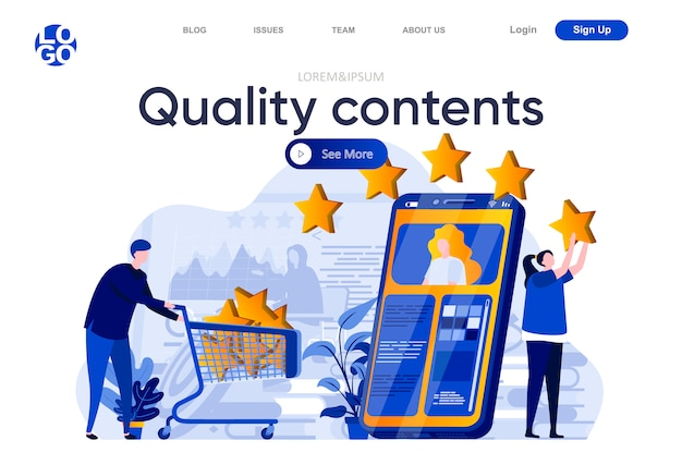 Quality contents flat landing page. creative team posting and reviewing quality digital content illustration. social media marketing and publication web page composition with people characters