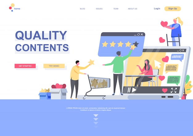 Quality contents flat landing page template. people giving quality estimation of media or post situation. web page with people characters. social media marketing and publication illustration.