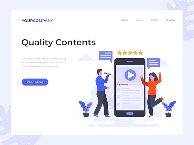 Quality contents landing page