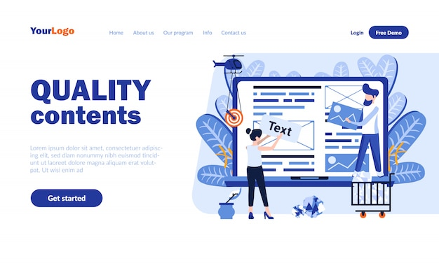 Quality contents vector landing page template with header
