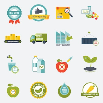Quality control certified quality test services icons flat set isolated vector illustration