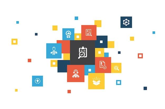품질 관리 인포그래픽 10단계 픽셀 디자인. 분석, 개선, 서비스 수준, 우수한 단순 아이콘