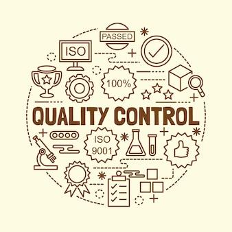 Quality control minimal thin line icons set