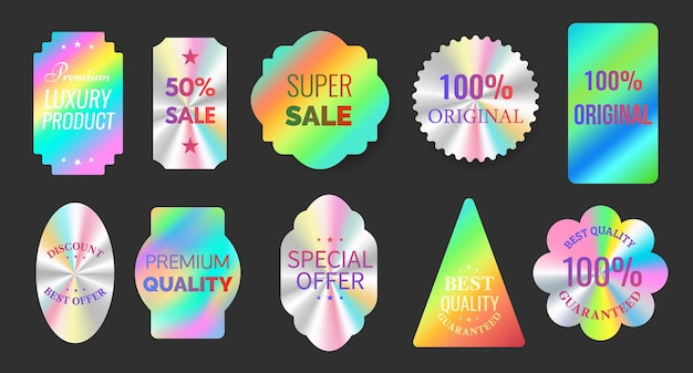 Quality hologram foil sticker labels for original products. geometric seal for official certification, guarantee and sale emblems vector set. super sale and best discount offer template