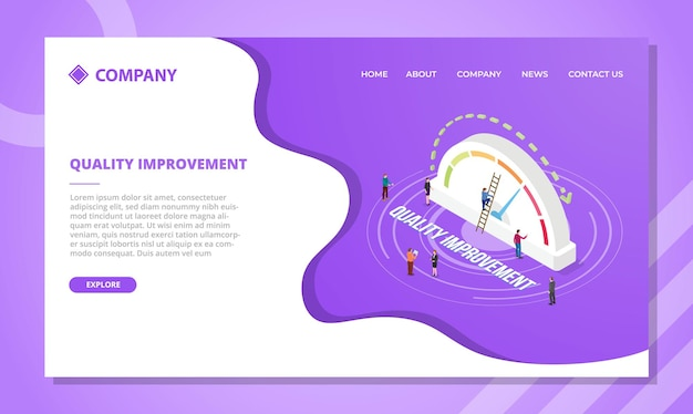 等尺性スタイルのベクトル図を使用してウェブサイトテンプレートまたはランディングホームページデザインの品質改善コンセプト