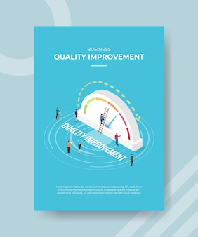Quality improvement concept poster template with isometric style vector illustration