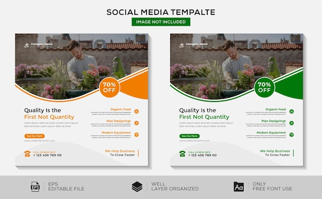 Quality is the first not quantity social media and banner template design