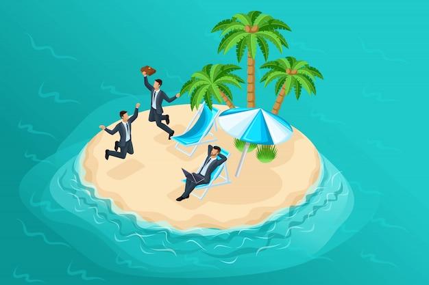 おとぎ話のような島々での無料作品の明るい構成である品質アイソメトリー。オフィスの従業員の夢。販促品について