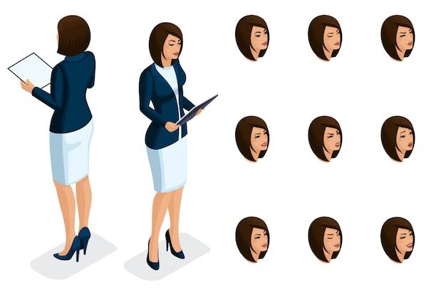Качественная изометрия, бизнес-леди, в строгой стильной одежде с папкой в руках. персонаж, девушка с набором эмоций для создания качественных