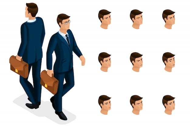 Quality isometry, a  businessman with glasses, in a stylish and beautiful suit. character with a set of emotions for creating quality  illustrations