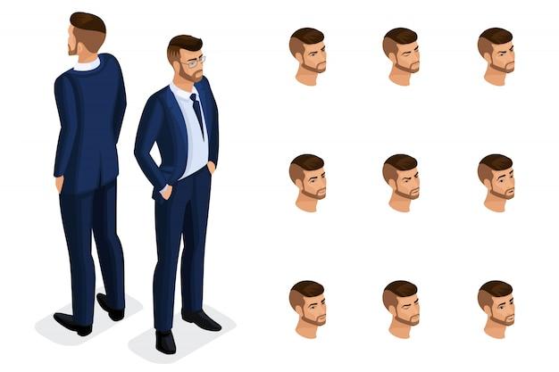 Quality isometryは、スタイリッシュで美しいスーツを着た、しっかりとしたビジネスマンです。高品質のイラストを作成するための一連の感情を持つキャラクター
