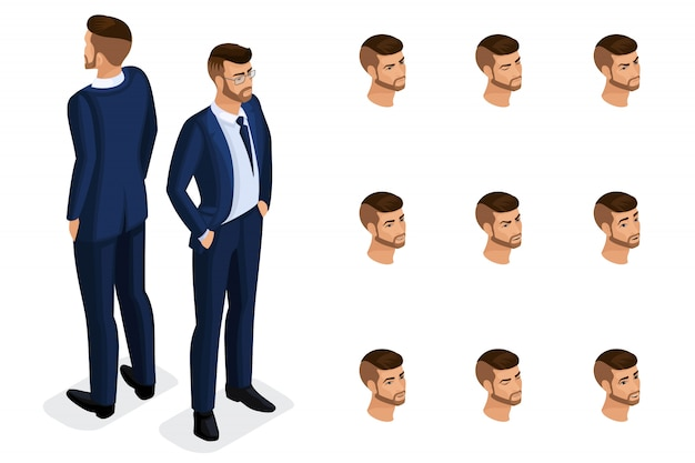 Quality isometry, солидный бизнесмен, в стильном и красивом костюме. персонаж с набором эмоций для создания качественных иллюстраций