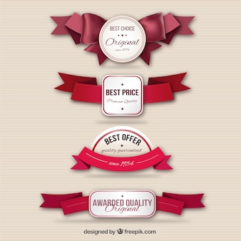 Quality labels with ribbons