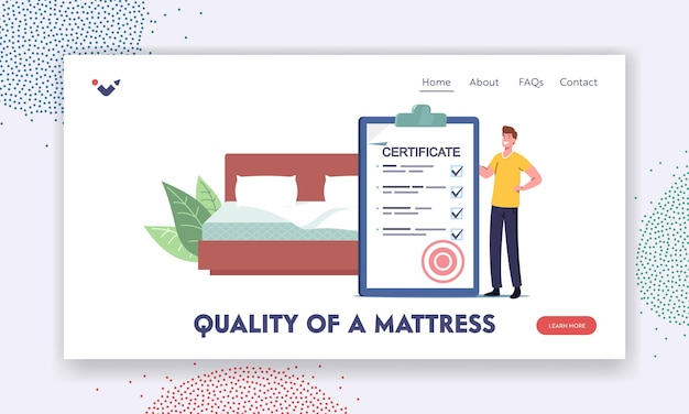 Quality of mattress landing page template. man with huge certificate in bedroom with bed. tiny character choose and buy correct orthopedic mattress for correct sleeping. cartoon vector illustration