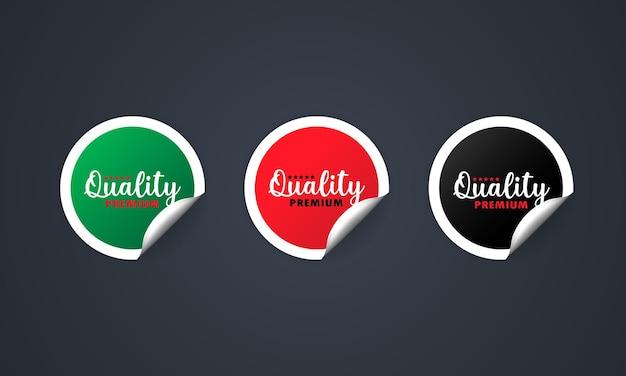 Значок качества премиум. набор наклеек. скидка. набор качественных премиальных этикеток.