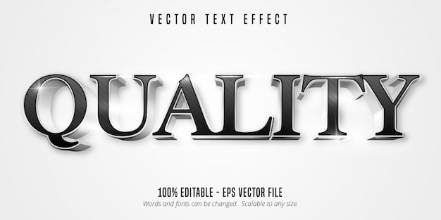 Quality text, shiny silver style editable text effect