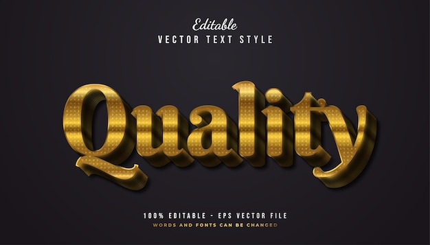 Quality text style in gold gradient with embossed effect