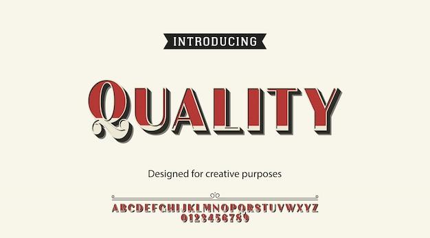 Quality typeface font alphabet