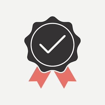 Quality verified. icon confirmed with a check mark. agreed, tested, approved. vector illustration.