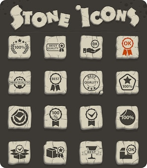 Quality web stone icon set on stone blocks in the stone age style for user interface design