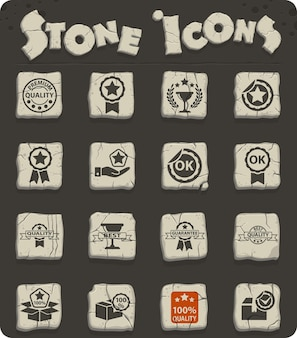 Quality web stone icon set for user interface design