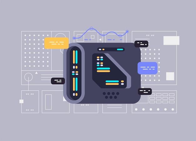 Квантовый компьютер. разработка программного обеспечения и программирование. векторная иллюстрация для сайтов
