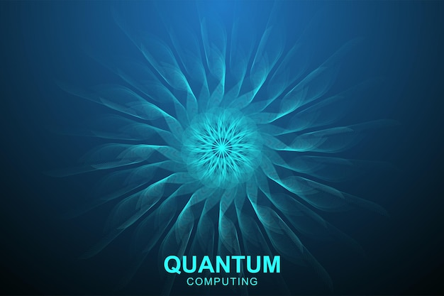 Quantum computer technology concept. deep learning artificial intelligence. big data algorithms visualization for business, science, technology. waves flow, dots, lines. quantum vector illustration.