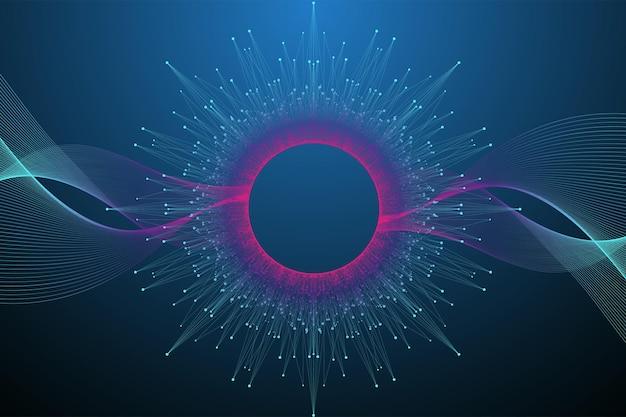 量子コンピューター技術の概念。球の爆発の背景。ディープラーニング人工知能。ビッグデータアルゴリズムの視覚化。波が流れます。量子爆発、ベクトルイラスト。