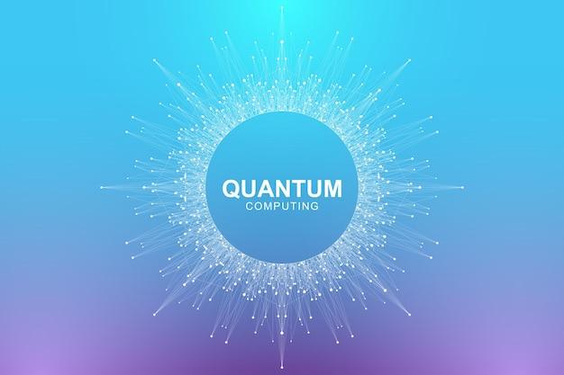 양자 컴퓨터 기술 개념. 파도 흐름, 점, 선 그림.