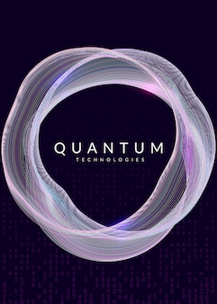 Quantum computing background. technology for big data, visualization, artificial intelligence and deep learning. design template for software concept. cyber quantum computing backdrop.
