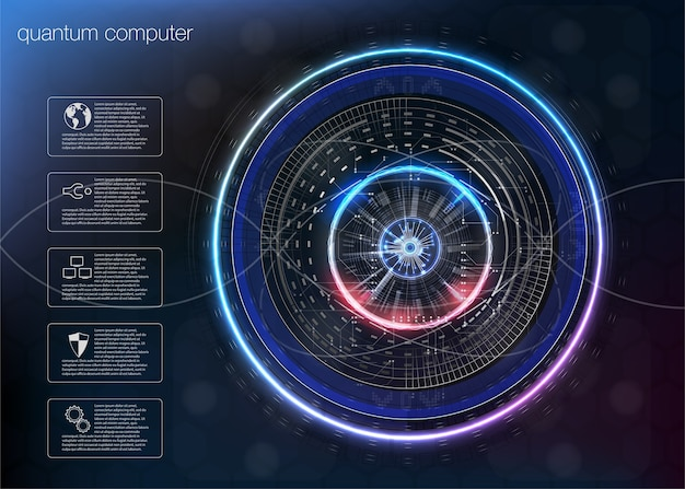 Quantum computing, big data algorithms, quantum computing, data visualization technologies, deep learning artificial intelligence, signal cryptography infographic s.