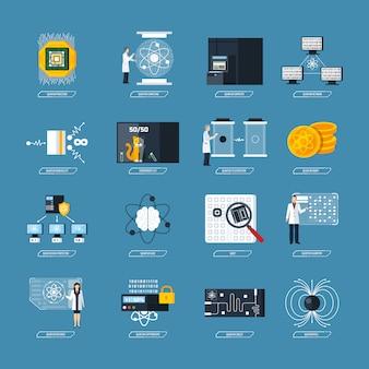 Quantum computing flat icons