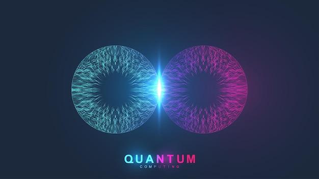 양자 컴퓨팅 시스템. 양자 물리학. 딥 러닝 인공 지능. 빅 데이터 알고리즘 시각화, 벡터 일러스트 레이 션.