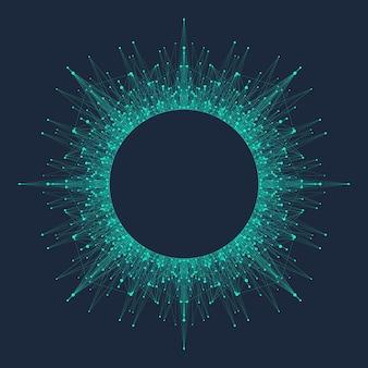 量子コンピューティング技術の概念。ディープラーニング人工知能。ビジネス、科学、テクノロジー向けのビッグデータアルゴリズムの視覚化。波が流れる、点、線。量子ベクトルイラスト。