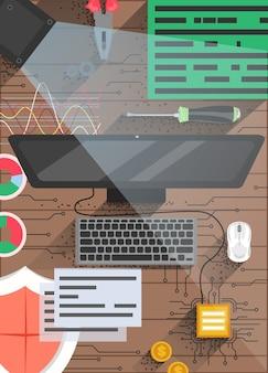Шаблон дизайна плаката технологии квантовых вычислений