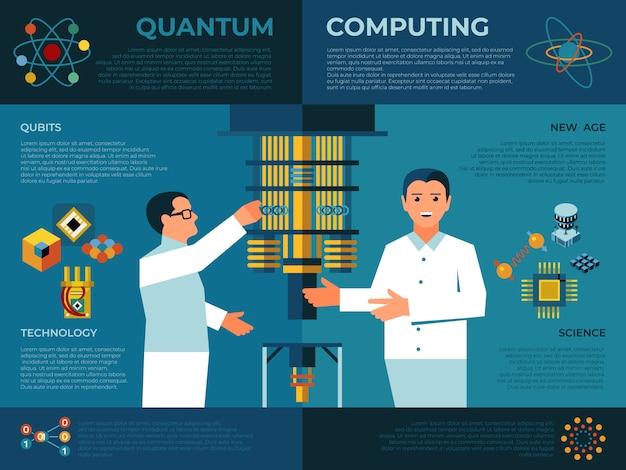 엔지니어 및 물리 인포 그래픽을 사용한 양자 컴퓨팅