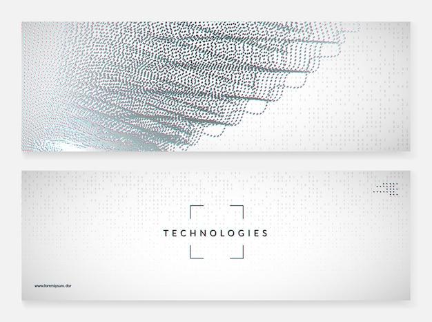 Квантовый инновационный компьютер. цифровая технология. искусственный интеллект, глубокое обучение и концепция больших данных. техническая визуализация для шаблона программного обеспечения. геометрический фон компьютера квантовых инноваций.