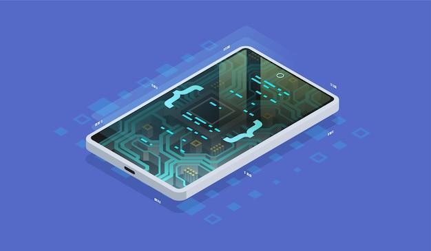 Квантовый телефон, обработка больших данных, концепция базы данных. цифровой чип, современное оборудование смартфона, изометрические иллюстрации.