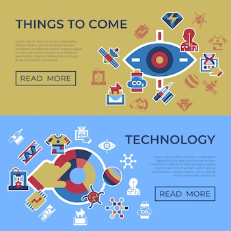 Quantum things to come technology icons set