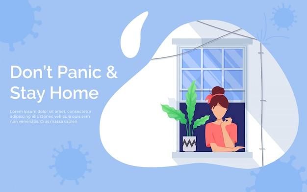 Концепция карантина и самоизоляции. девушка смотрит в окно. оставаться дома с карантином. защищать от вирусов
