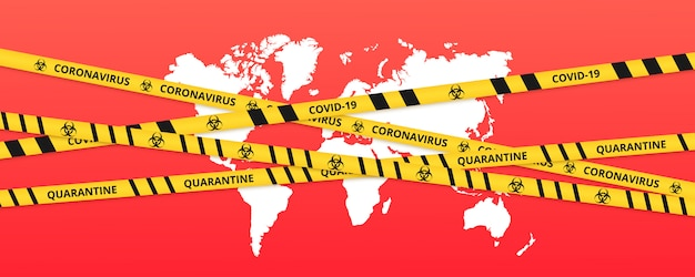 Quarantine background of lockdown tape border above the world. warning coronavirus quarantine yellow and black stripes